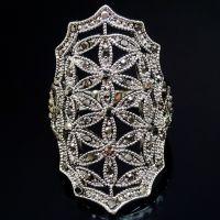 AA2015 夸张镂空花朵复古戒指镶钻手饰速卖通热卖饰品批发