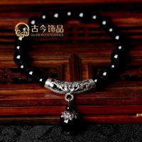 2599#藏银玛瑙手链 水晶饰品 外贸出口 地摊 民族风饰品 佛珠