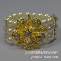 欧美新款多层珍珠合金钻手链 女士手饰手镯批发 速卖通Ebay货源