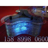 酒吧发光异形茶几三角形钢化玻璃台面钳口玻璃KTV家具订制
