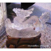 新品天然白水晶生意兴隆(龙)雕刻件摆件外贸出口办公用品工艺品