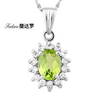 天然橄榄石项链 品牌首饰 天然宝石项链 纯银首饰可配证书DBGL101
