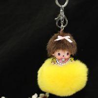 汽车钥匙挂件可爱奇奇镶钻钥匙扣奢华獭兔毛球高档钥匙圈批发定制