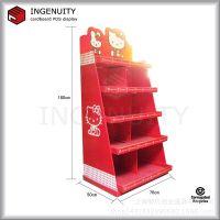 超市促销落地式纸货架工厂定制 纸堆头展示架设计打样