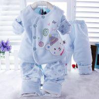 婴幼童春季新款 健康快车5017儿童偏襟三件套 宝宝天鹅绒薄棉套装