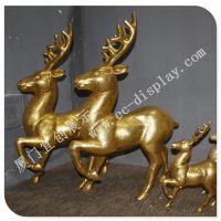 玻璃钢鹿道具 镀金鹿 玻璃钢动物雕塑 玻璃钢异形厂家 来图定制