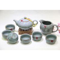 【低价热卖】大量供应新款精致价优陶瓷 哥窑茶具套装 陶瓷8头茶