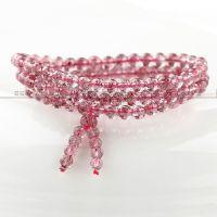 俄罗斯纯天然草莓晶 6mm108颗水晶手链 多层手串 材质纯正 通透