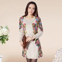 秋装长袖圆领连衣裙韩版修身中长款毛衣中年女装长款印花打底衫