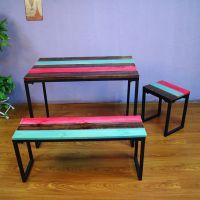 海德利厂家定制 铁艺美式乡村复古实木彩色餐桌椅 休闲咖啡餐桌椅