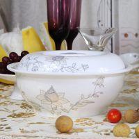 骨瓷汤盆带盖陶瓷9寸纯白大汤碗酒店餐厅家用餐具特大号装菜汤煲