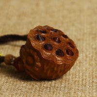 博德佛珠 红肉级老料老山檀香莲蓬 手工雕刻镶嵌紫檀手把件挂件