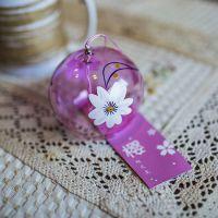 粉樱花日本玻璃风铃 和风饰品挂件 江湖风铃支持来图定制混批采购