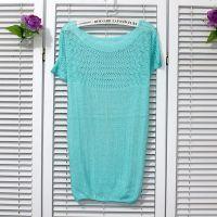春装夏季新款韩版一字领罩衫蝙蝠袖宽松大码镂空针织衫毛衣外套女