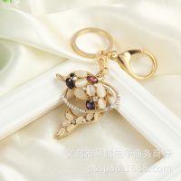 汽车钥匙扣 贵宾女孩钥匙挂件镶钻包扣水钻包挂件 情侣送人礼品