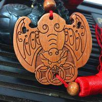 迎心堂桃木汽车挂件木质工艺品车挂蝙蝠出入平安符