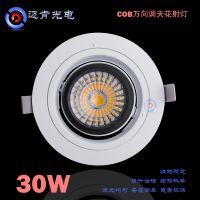 厂家直销led射灯新款万向双环360度cob30w车铝高散热天花射灯