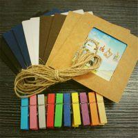 1868 DIY麻绳悬挂式相片相册照片墙 牛皮纸彩色相框3寸10张价格