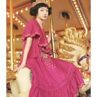 5-10 森林系复古刺绣连衣裙森女风古着绣花长裙 两件套