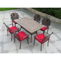 度帆,别墅花园铸铝家具,铸铝家具厂家,一桌六椅户外餐桌椅,广州户外家具厂家