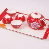 唐山喜庆骨瓷茶具 手绘6头中国红茶具 婚庆礼品瓷 唐山陶瓷厂家批发