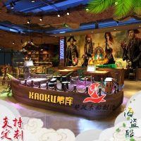 上海木船厂定制 船型吧台实木收银台餐桌餐椅主题酒店家具饭店餐厅包厢景观装饰船 景观装饰船 特殊船出售