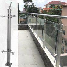 金聚进 304不锈钢双夹双挂楼梯栏杆 不锈钢空心双夹立柱 扁管栏杆立柱