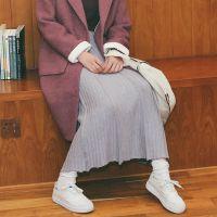 新款时尚潮流大摆针织文艺清新保暖舒适羊毛潮范半身女长裙Q12N35
