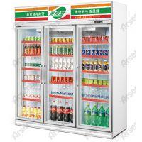 长沙新佳宜饮料展示柜 雅绅宝冷柜销售 三门展示冰柜 蔬果保鲜柜 风冷冷藏柜 饮料柜图片