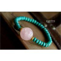 晶尚尊  人造加色绿松石手链手链搭配粉水晶 百搭女款 清新绿