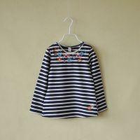 外贸童装 女童 花朵刺绣条纹长袖T恤 打底衫 0229