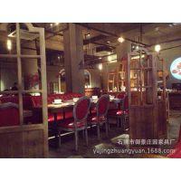 美式乡村咖啡茶餐厅桌椅实木家具原木复古铁艺餐桌书桌会议桌