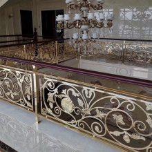 楼梯铝雕刻围栏订做 豪华装饰电镀铝雕花护栏批发