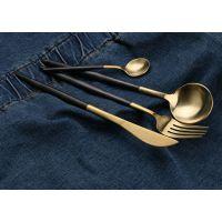 葡萄牙同款 304西餐餐具 尖柄刀叉勺 黑金不锈钢餐具