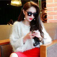 2015秋装韩韩新款短款纯色长毛宽松套头七分袖针织打底衫毛衣女式