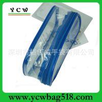黄色PVC透明化妆包 横款方型防水化妆包 优质洗漱包logo设计