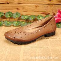 春秋新款女式休闲复古花朵真皮鞋 广州女士外贸鞋 软底防滑妈妈鞋