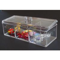 三格亚克力棉签盒 亚克力化妆品收纳盒 透明盒 首饰盒