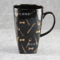 骨瓷大高方杯厂家供应黑色时尚陶瓷杯子开模定制创意礼品大容量