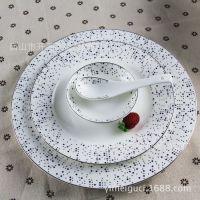 厂家直销骨质瓷燕尾蝶56头餐具套装 家用陶瓷碗盘 商务礼品简约
