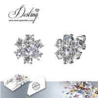 戴思妮 高贵典雅六瓣花耳钉 采用施华洛世奇元素 水晶耳钉 饰品 厂家直销