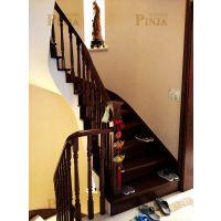 上海定制室内楼梯美式粗矿橡木楼梯新款别墅实木楼梯家用楼梯定制