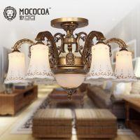 欧式灯具卧室吸顶灯铁艺雕花镶钻客厅灯简约餐厅吊灯D6607-6C