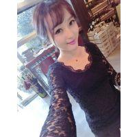 于momo定制2014秋装圆领蕾丝长袖套头打底衫蕾丝衫女上衣X4301姜