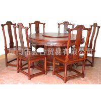 厂家直销 圆形餐桌9件套 饭桌 餐厅 豪华古典实木红木家具 推荐