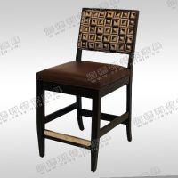 简约实木餐桌椅 中式快餐店椅子 PU皮制软包椅子 快餐椅价格定制