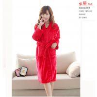 厂家直销纯棉吸水红色女士珊瑚绒浴袍