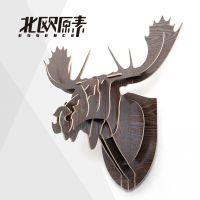 田园北欧式创意家居墙壁装饰品 卡榫结构 驼鹿头像 动物挂件装饰
