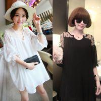 2015孕妇装韩版连衣裙女雪纺宽松中袖大码中长款