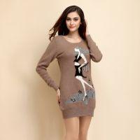 2014秋冬新款女士羊绒衫中长款针织长袖毛衣女修身圆领套头打底衫